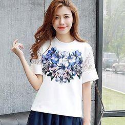 Munai - Lace-Panel Short-Sleeve Floral T-Shirt