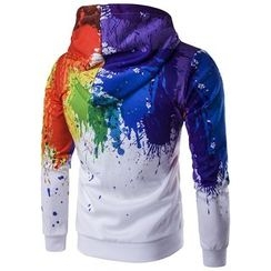 Fireon - Paint Print Hooded Zip Jacket