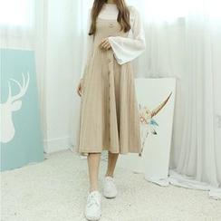 Dodostyle - Button-Accent A-Line Knit Jumper Dress