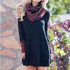 HOTCAKE - Plaid Panel Cowl Neck Long Sleeve Dress