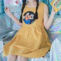 Moricode - 貓咪印花無袖A字連衣裙