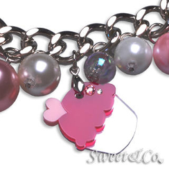Sweet & Co. - Mini Silver Fuchsia Cupcake Swarovski Crystal Charm Bracelet
