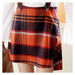 Sechuna - Bow-Accent Checked Mini Skirt with Suspenders