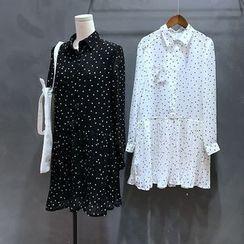 YENSI - Polka Dot Chiffon Shirtdress