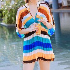 小桃泳衣 - 套裝: 條紋比基尼泳裝 + 外罩連衣裙