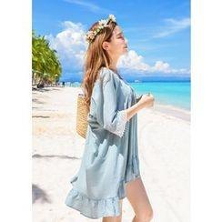 J-ANN - 3/4-Sleeve Lace-Trim Cotton Mini Dress