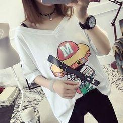 efolin - 印花短袖V领T恤