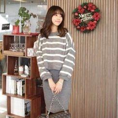 midnightCOCO - Set: Stripe Knit Top + Knit Skirt