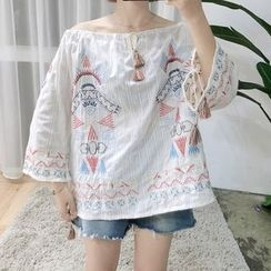 MePanda - Embroidered Off-Shoulder Top