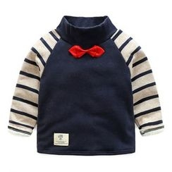 Seashells Kids - Kids Bow Accent Striped Panel Pullover