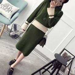 Qimi - Set: Color Block Sweater + Midi Knit Skirt
