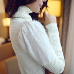 anzoveve - Turtleneck Furry Knit Panel Sweater