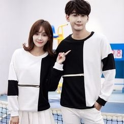 belle epoque - Couple Matching Color Panel Pullover