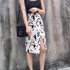 Octavia - Slit Midi Skirt