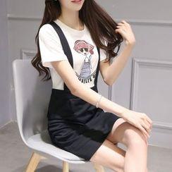 Enjoi - Set: Cartoon Print Short-Sleeve T-Shirt + Jumper Skirt