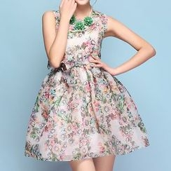 Strawberry Flower - Floral Print Sleeveless Dress