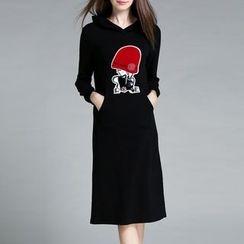 Lavogo - Applique Hooded Midi Pullover Dress