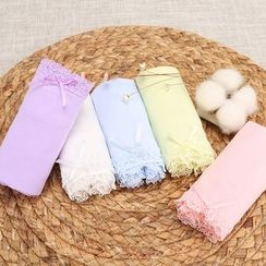 ZUEU - Set of 5: Lace-Trim Printed Panties