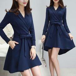 Lavogo - V-Neck Long-Sleeve A-Line Dress