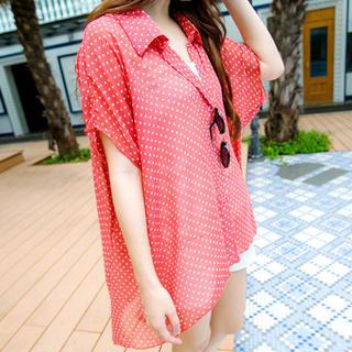 Tokyo Fashion - Sheer Dotted Oversized Shirt