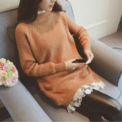 AIGIL - Lace Panel Long Sweater