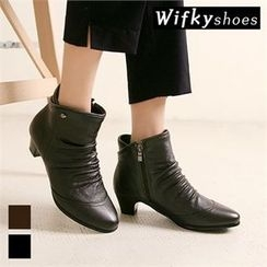 Wifky - Shirred-Detail Genuine-Leather Ankle Boots