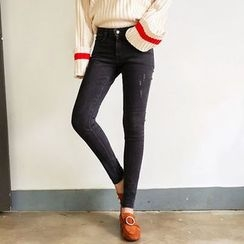 Seoul Fashion - Band-Waist Washed Skinny Jeans