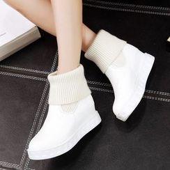 JY Shoes - Plain Hidden Wedge Ankle Boots