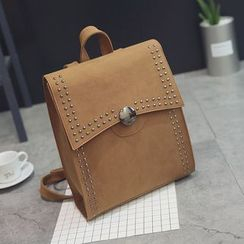 Little Days - Studded Flap Faux Leather Backpack