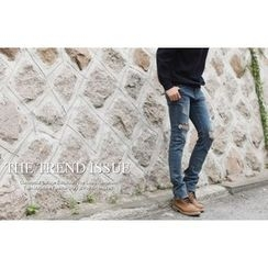 SCOU - Distressed Slim-Fit Jeans