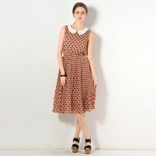 YesStyle Z - Accordion Pleat Polka Dot Maxi Dress