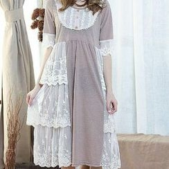Blue Hat - Short-Sleeve Lace-Trim Dress