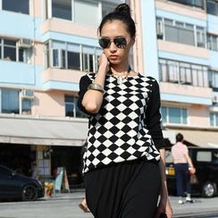 SO Central - Patterned Panel Knit Top