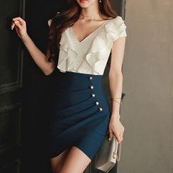 Aurora - Ruffled Buttoned Sheath Dress