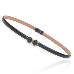 Yist! - Gemstone Faux Patent Leather Slim Belt