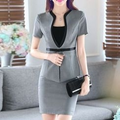 Caroe - Set : Piped Short-Sleeve Blazer + Skirt