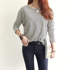 NANING9 - Drop-Shoulder Stripe T-Shirt