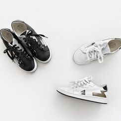 NIPONJJUYA - Contrast-Trim Genuine-Leather Sneakers