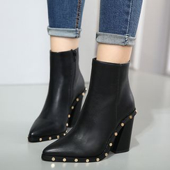 Monde - Chunky Heel Pointy Short Boots