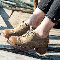 MIAOLV - Brogue Chunky Heel Oxfords