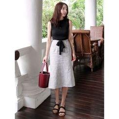maybe-baby - Striped Slit-Side Midi Skirt