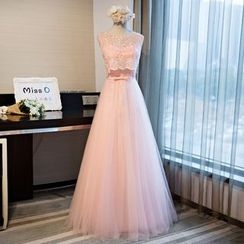 Miss D - Lace Panel Tulle Evening Gown