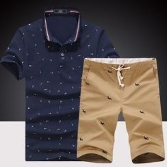 Harvin - Set: Print Short Sleeve Polo Shirt + Drawstring Shorts