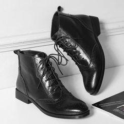 JY Shoes - Lace Up Short Boots