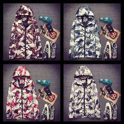 Free Shop - Couple Matching Camouflage Hooded Jacket