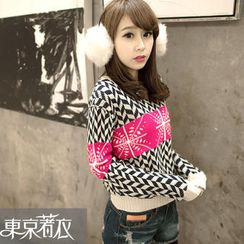 Tokyo Fashion - Color-Block Patterned Sweater