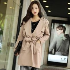 Asha BaBa - Pocket-Front Trench Coat with Belt