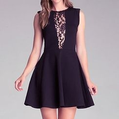 Richcoco - Lace Panel Sleeveless A-Line Dress