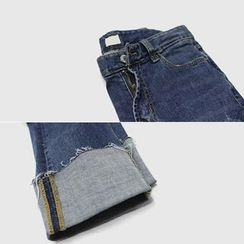 STYLEBYYAM - Distressed Cuff-Hem Jeans