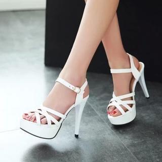 Pastel Pairs - Platform Cross-strap Heeled Sandals